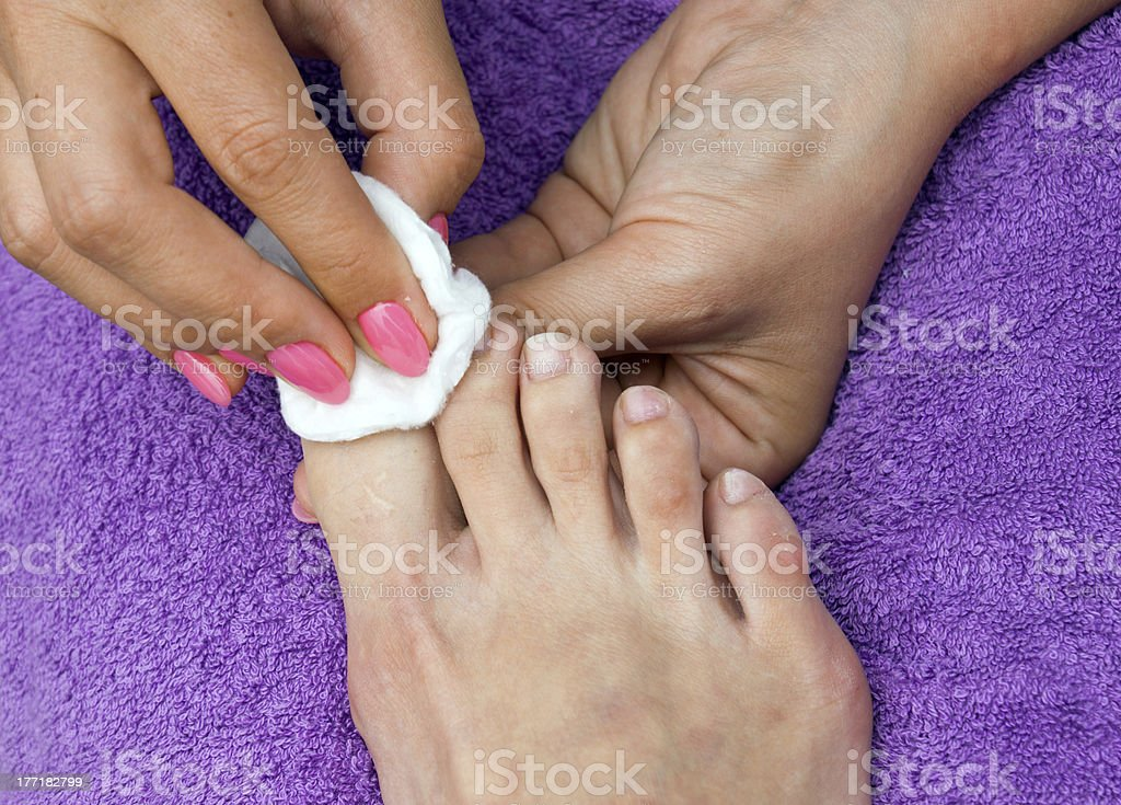 woman foot in pedicure royalty-free stock photo