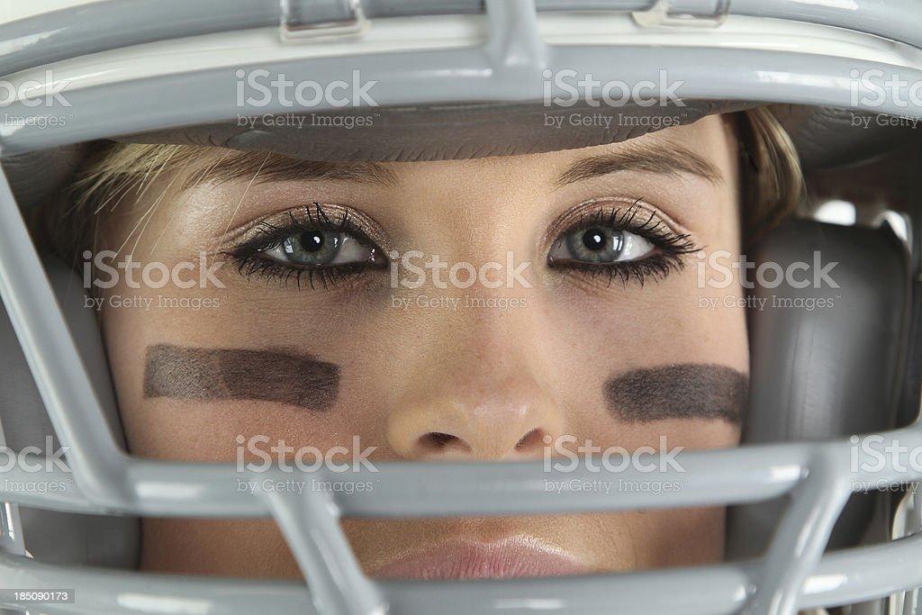 Woman football player royalty-free stock photo