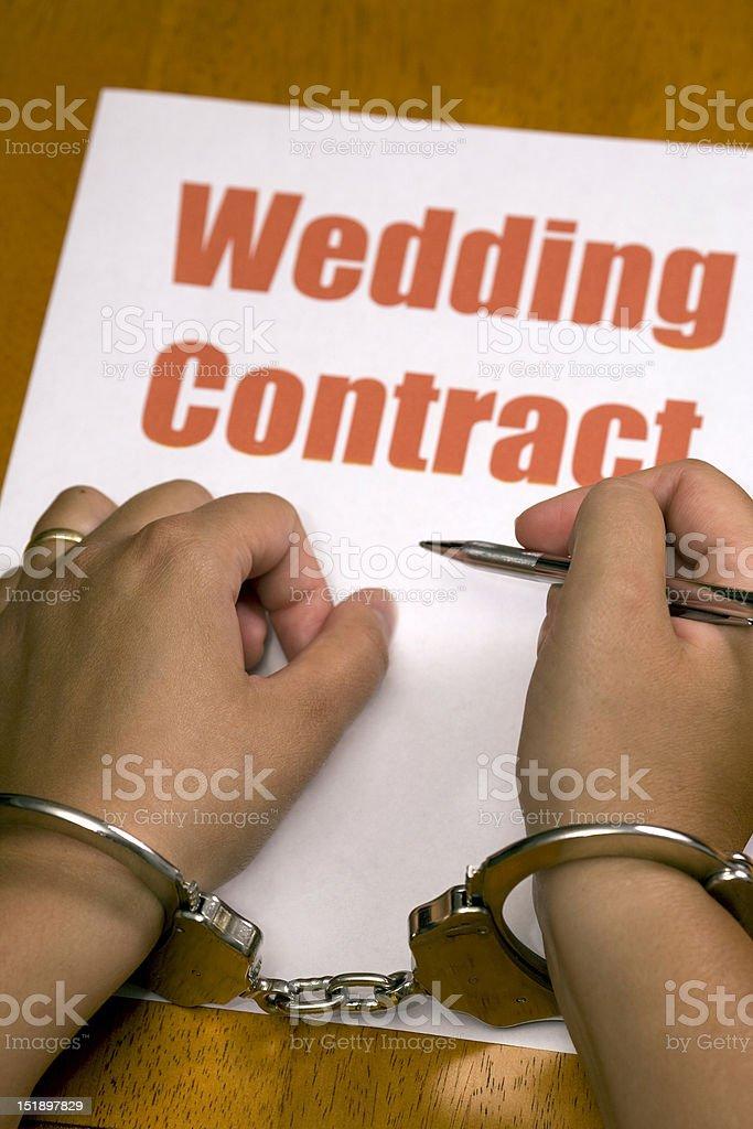 woman force to wedding stock photo