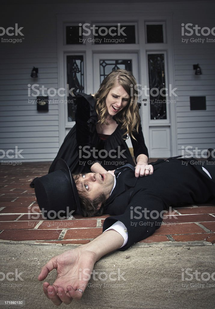 Woman Found Her Husband Dead stock photo