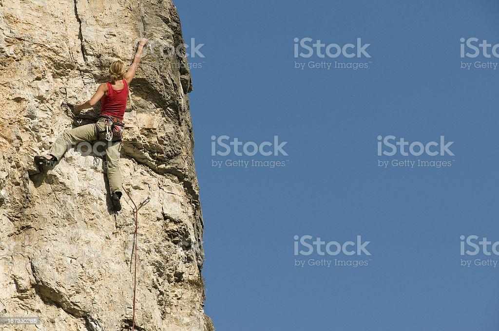 Woman freeclimbing royalty-free stock photo