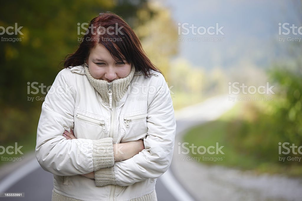 Woman freezing royalty-free stock photo