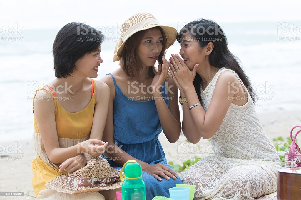 woman friend talking about something stock photo