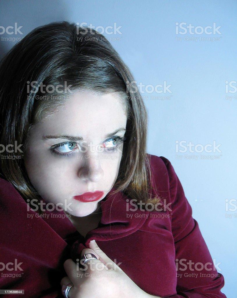 woman frightened stock photo