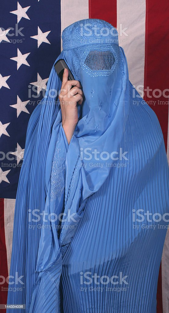 Woman From Afghanistan on Cell Phone royalty-free stock photo
