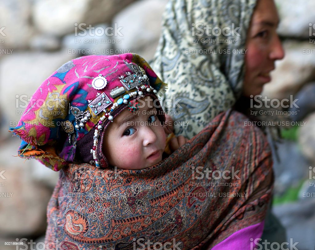 Woman from Baltistan, Ladakh, India stock photo