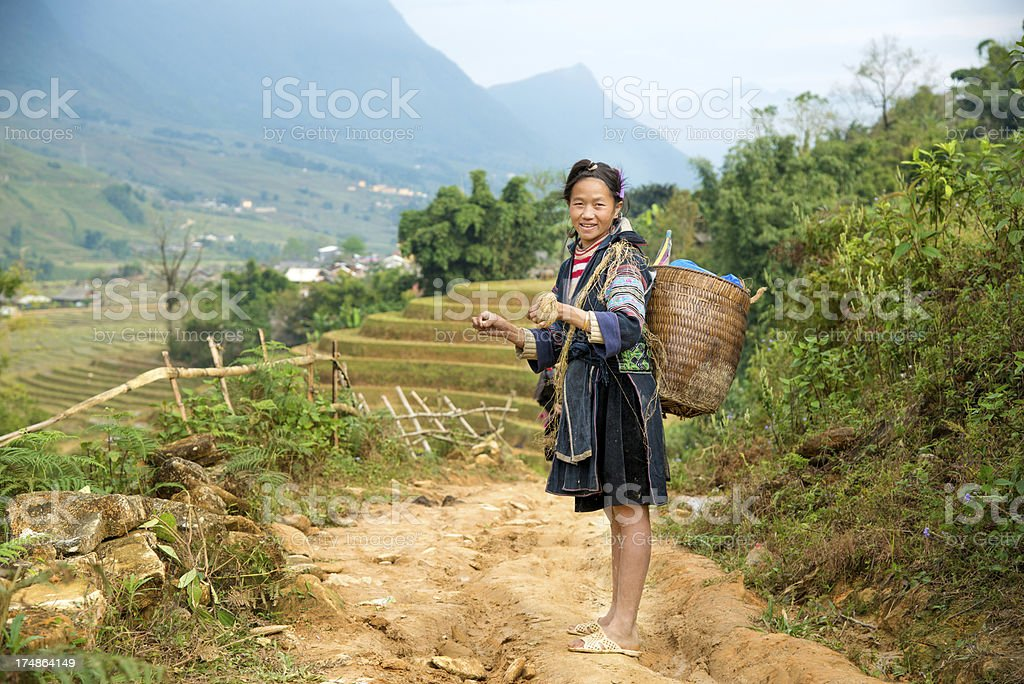 woman from Black Hmong Hill Tribe stock photo