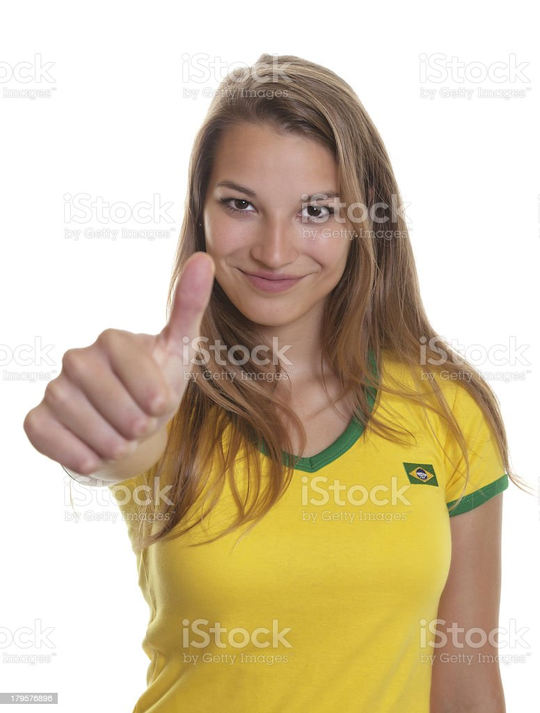 Woman from Brazil is ready for the football world cup royalty-free stock photo