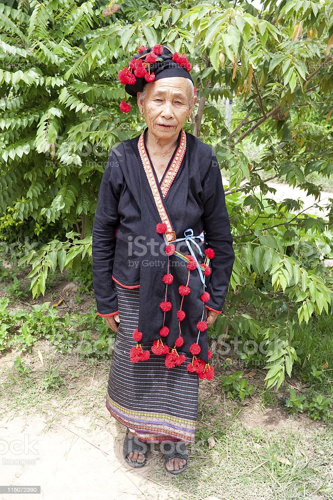 Woman from Laos, ethnic group Phu Noy stock photo