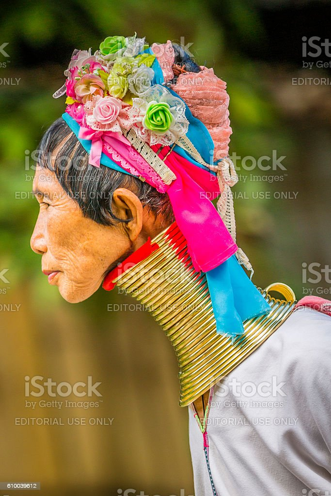 Woman from long neck Karen Tribe in Thailand stock photo