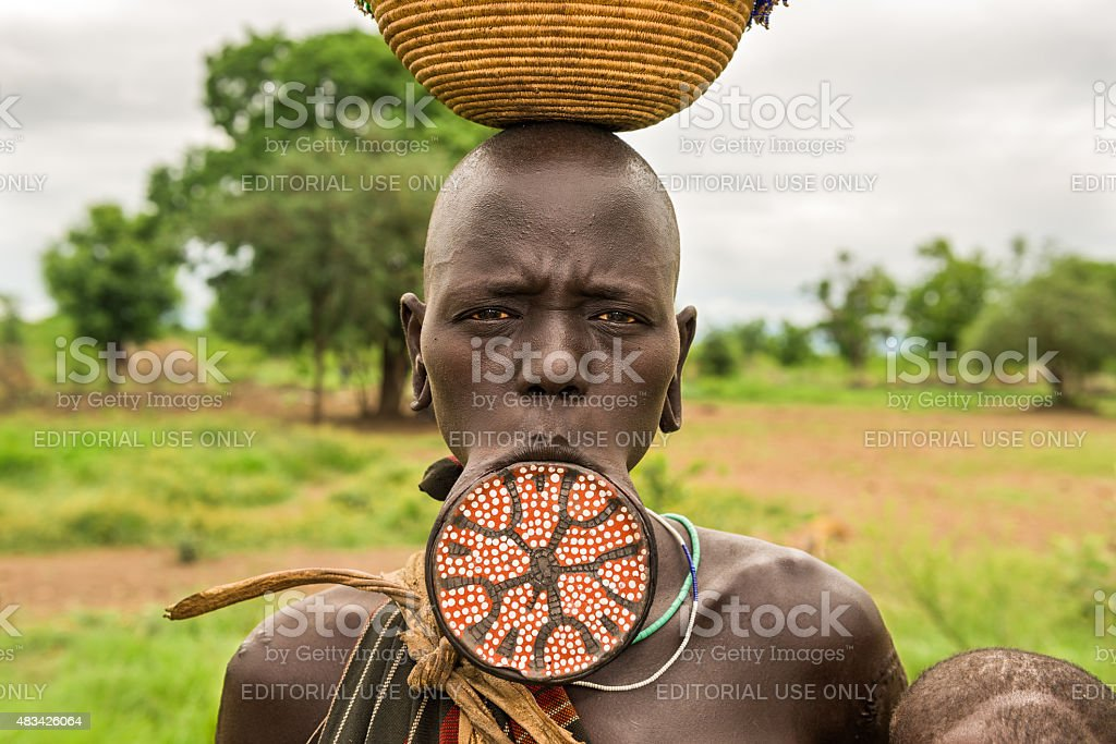 Woman from the african tribe Mursi, Omo Valley, Ethiopia stock photo