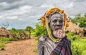Woman from the african tribe Mursi, Omo Valley, Ethiopia