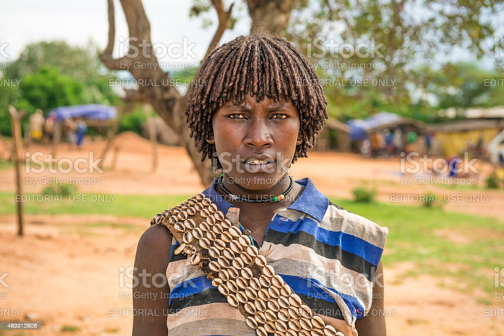 Woman from the Hamar tribe in south Ethiopia stock photo