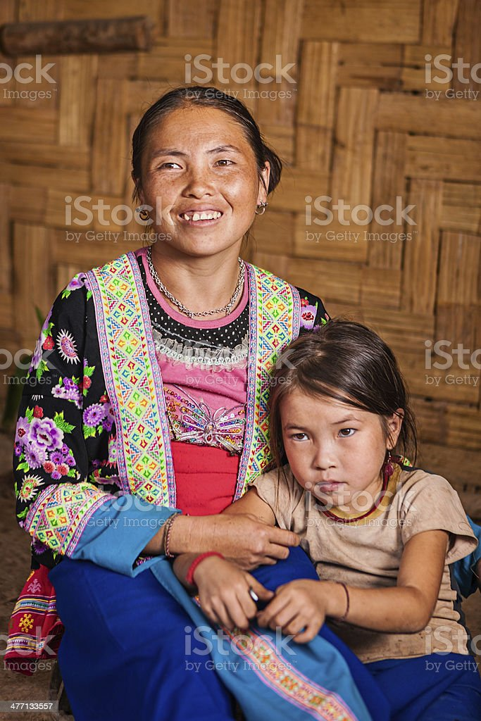 Woman from the hill tribe with her daughter royalty-free stock photo
