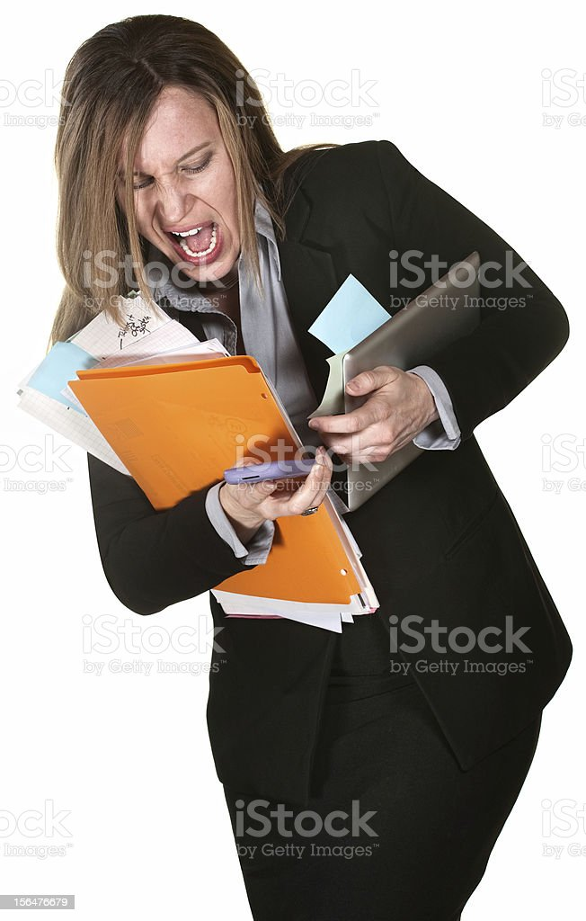 Woman Fumbling with Papers stock photo