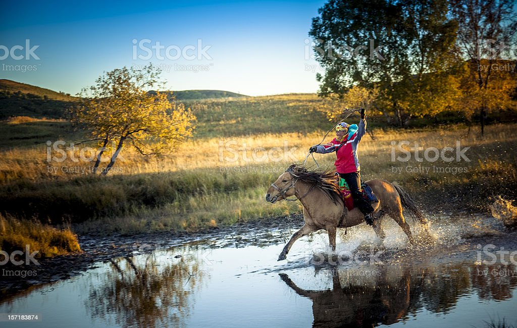 woman gallops horse through stream stock photo