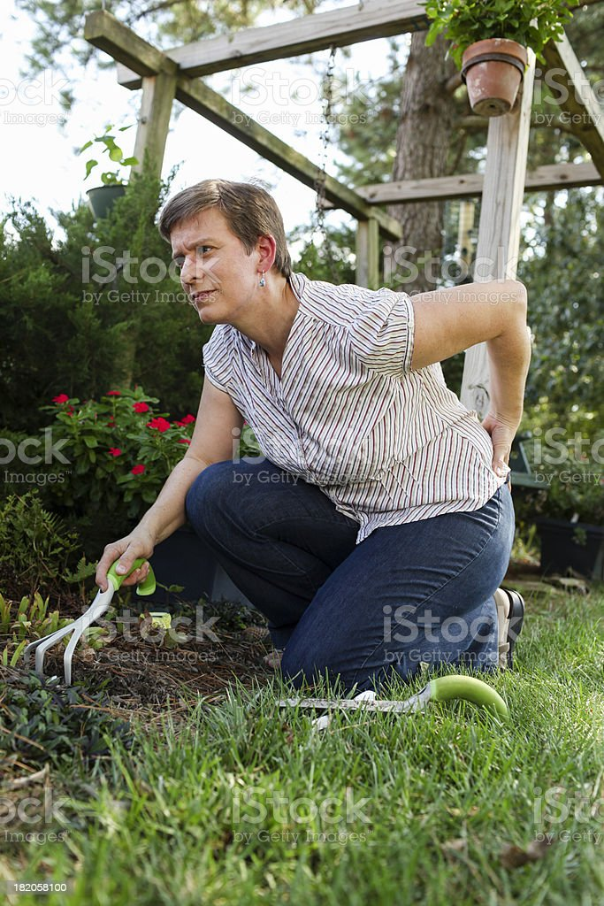 Woman gardening grimaces and holds her back in pain stock photo