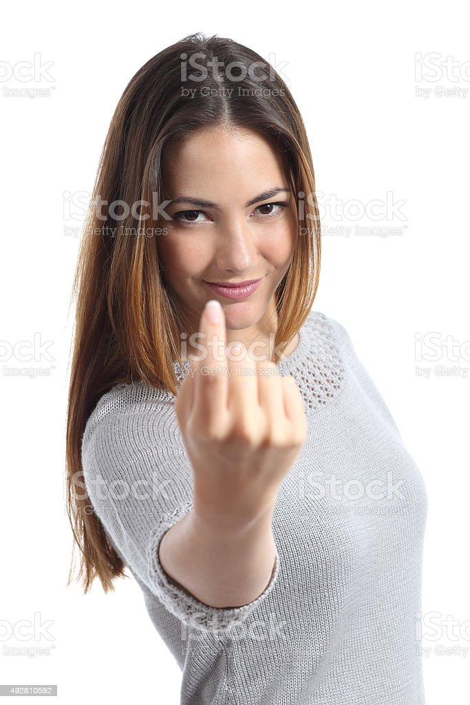Woman gesturing come here calling you stock photo