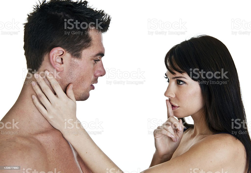 Woman gesturing quite to her man royalty-free stock photo