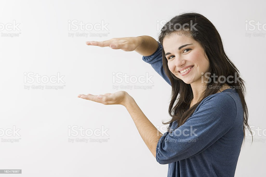 Woman Gesturing with Hands stock photo