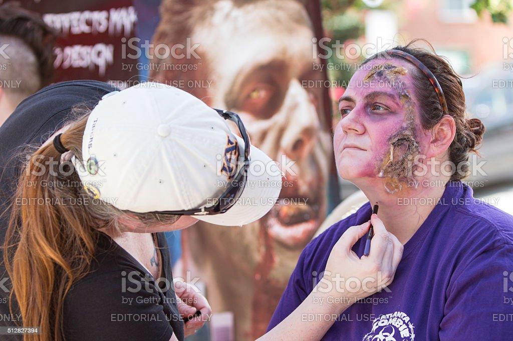Woman Gets Realistic Zombie Makeup Before Atlanta Pub Crawl Event stock photo