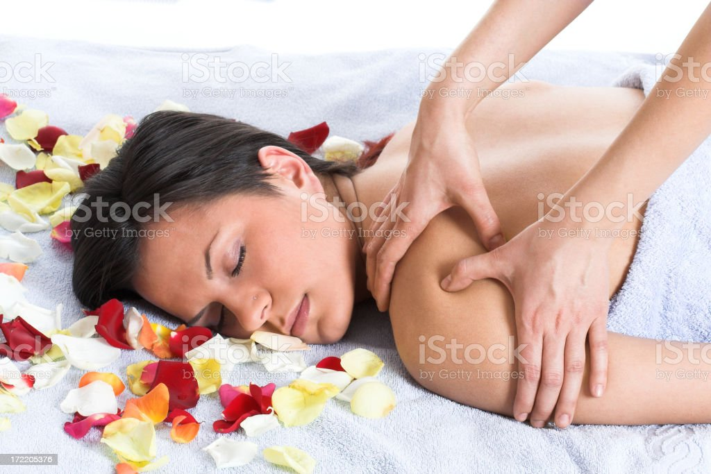 Woman getting a back massage royalty-free stock photo