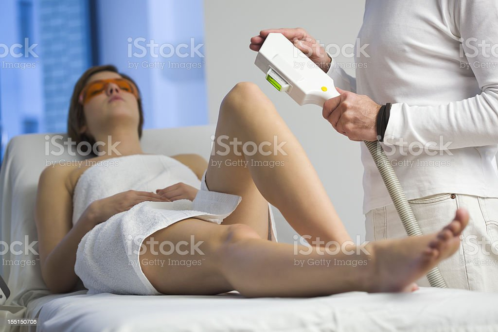 Woman Getting  Electrolysis Treatment stock photo
