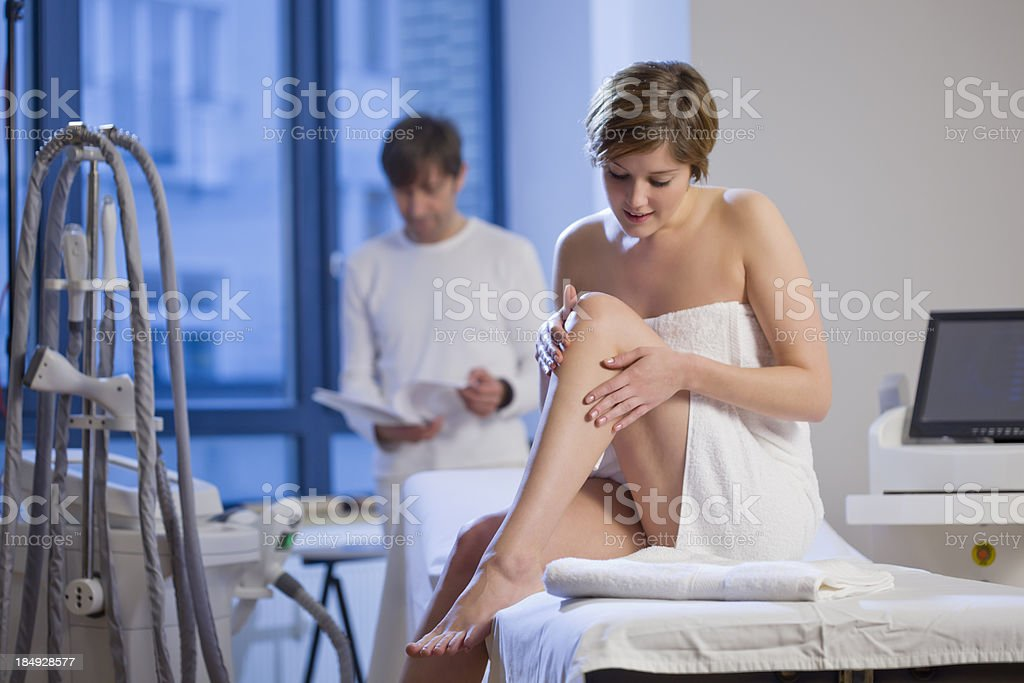 Woman Getting Electrolysis Treatment royalty-free stock photo
