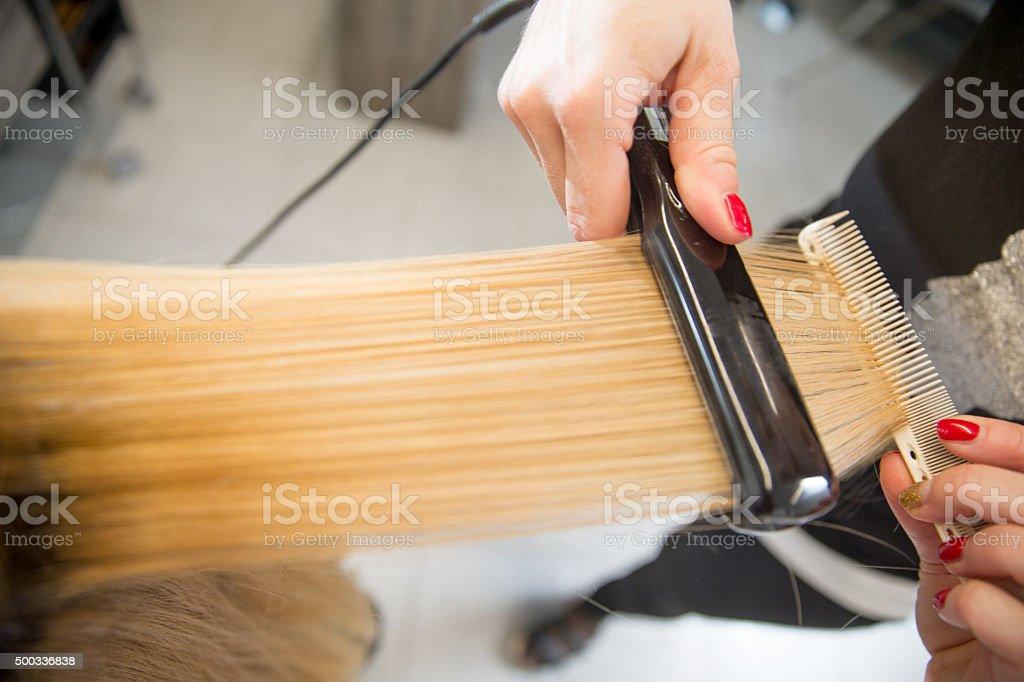 Woman Getting Hair Straightened at Hair Salon stock photo
