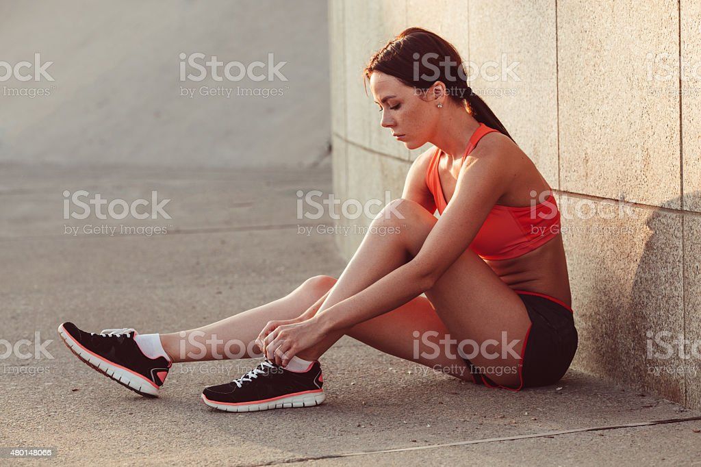 woman getting ready for jogging stock photo