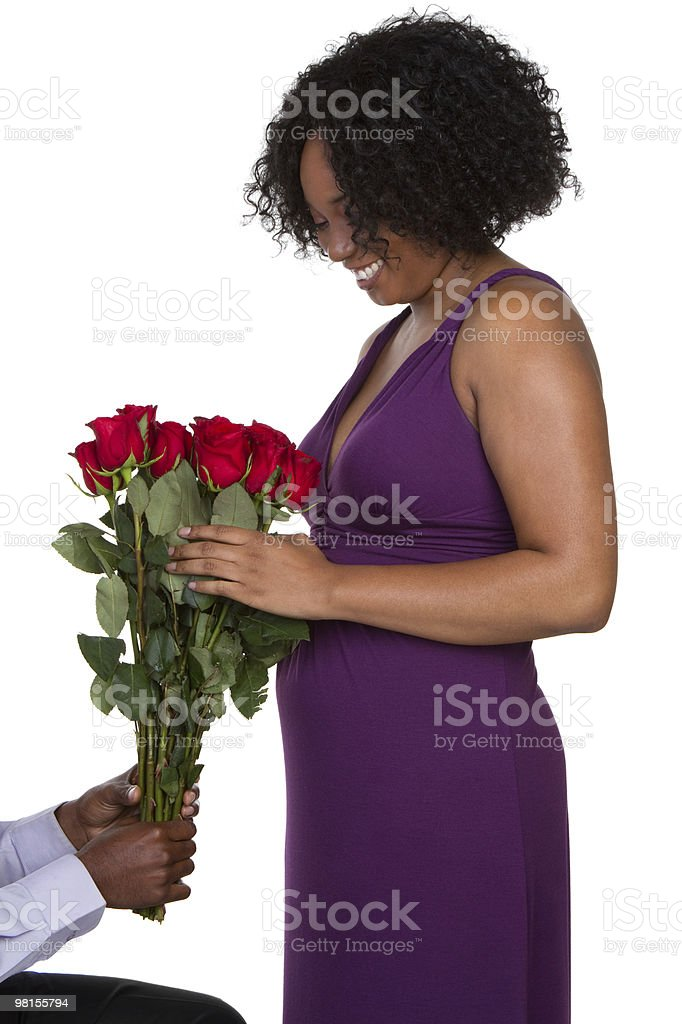 Woman Getting Roses royalty-free stock photo