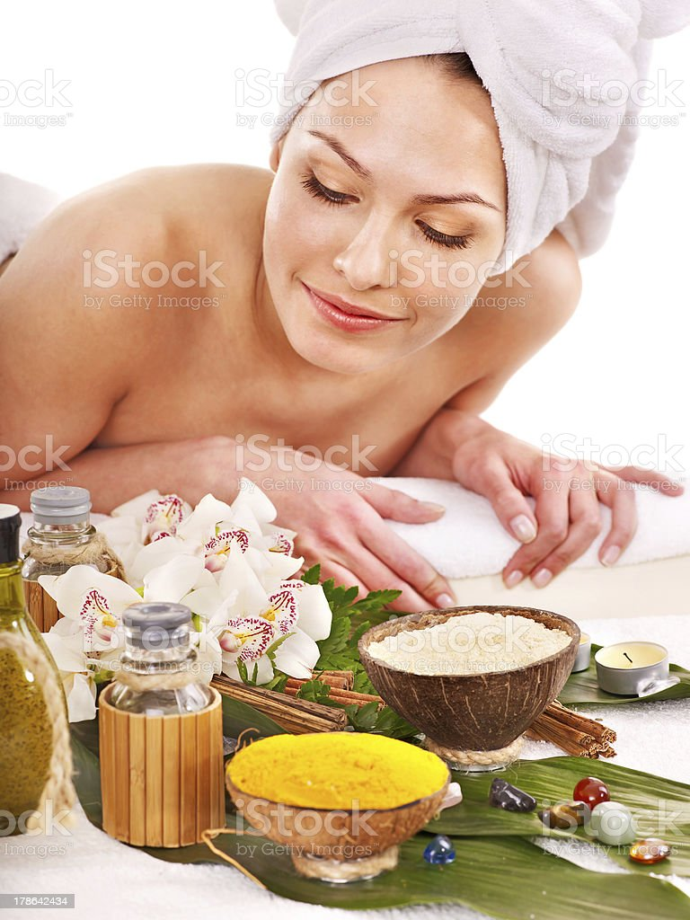 Woman getting spa treatment outdoor. royalty-free stock photo