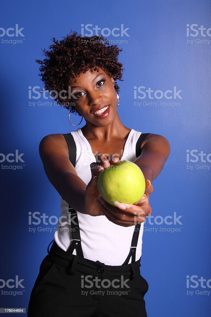 Woman Giving Apple stock photo