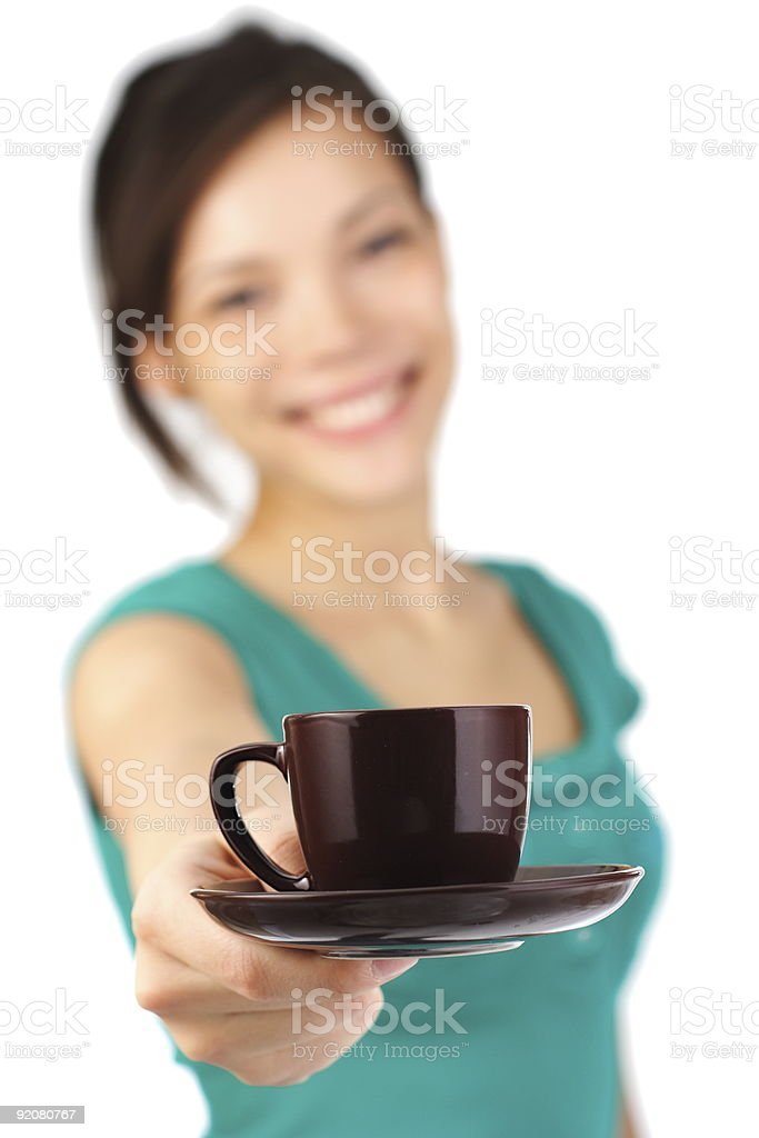 Woman giving coffee royalty-free stock photo