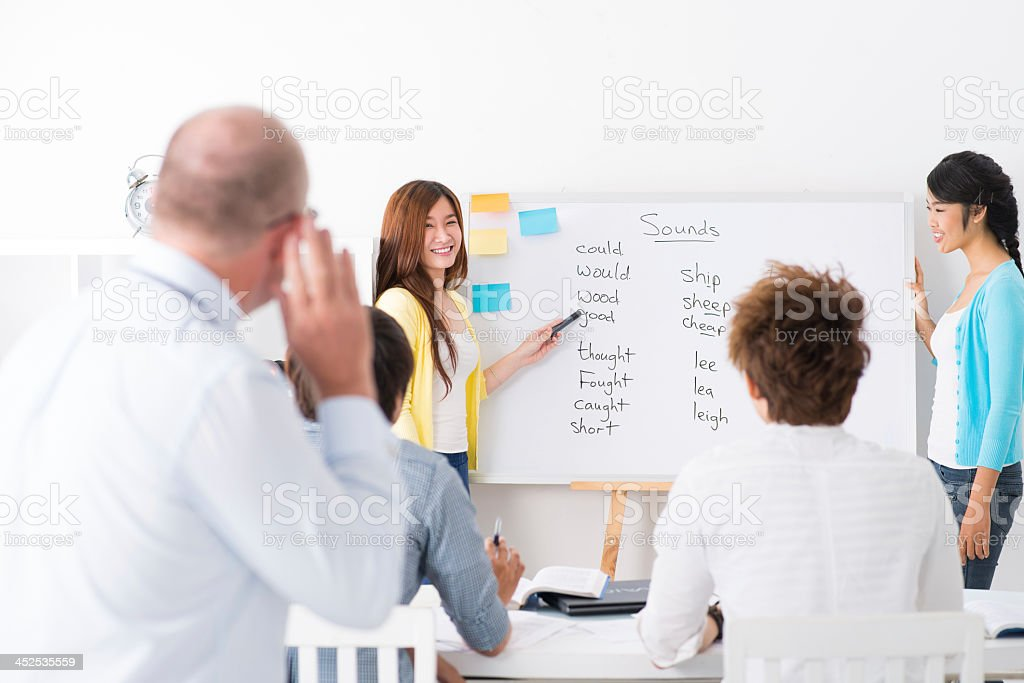 Woman giving English lesson two adult learners stock photo