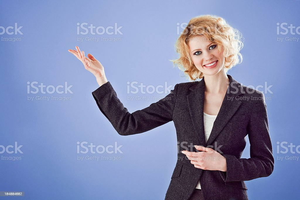 Woman giving presentation royalty-free stock photo