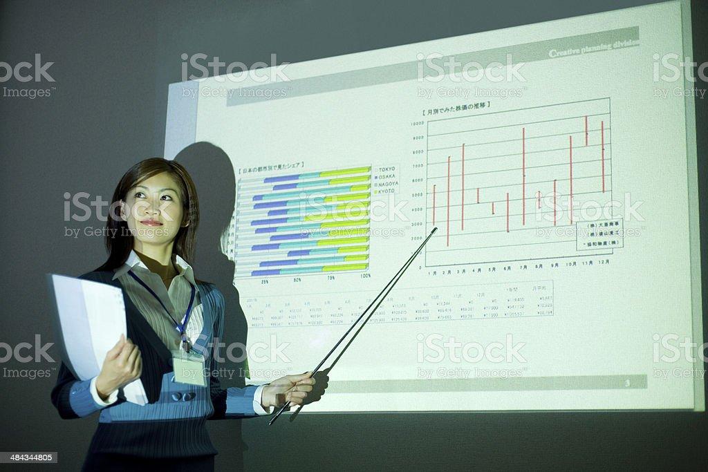 Woman giving presentation stock photo