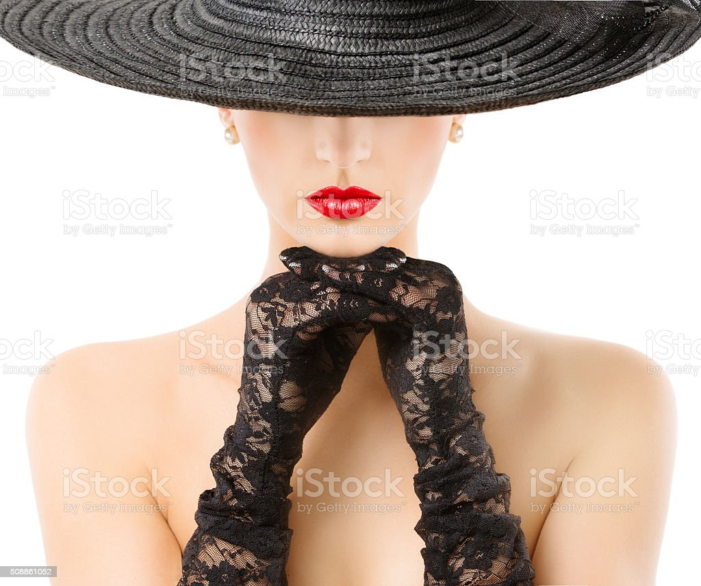 Woman Gloves Wide Brim Hat Red Lips, Girl Black Widebrim stock photo