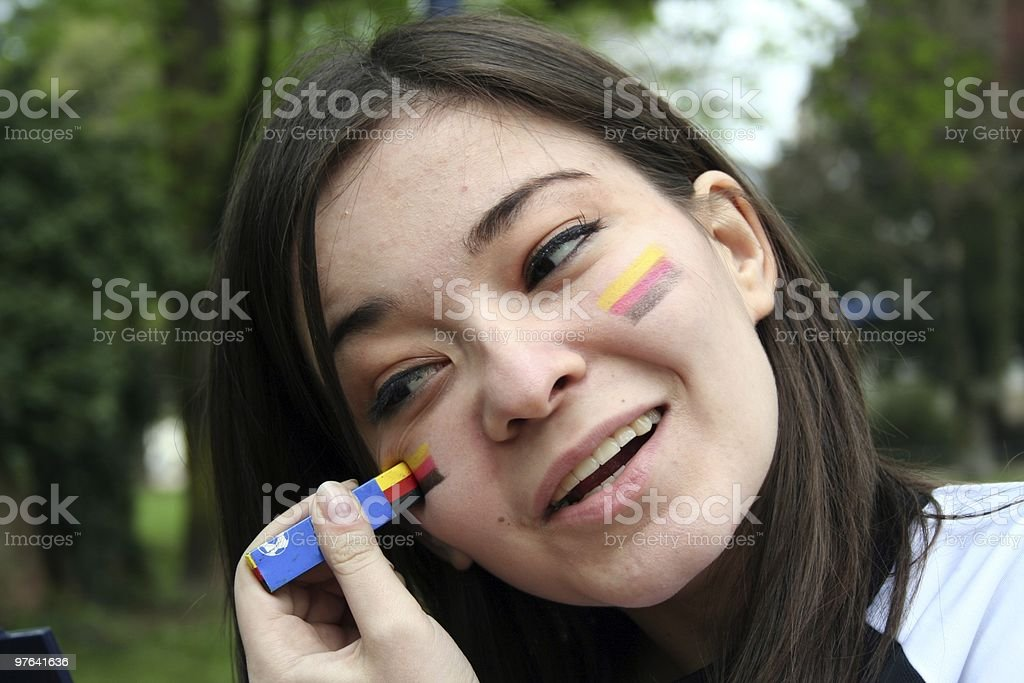 woman goes to the football game royalty-free stock photo