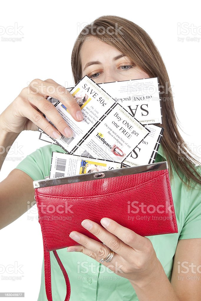 Woman Going Though Coupons royalty-free stock photo