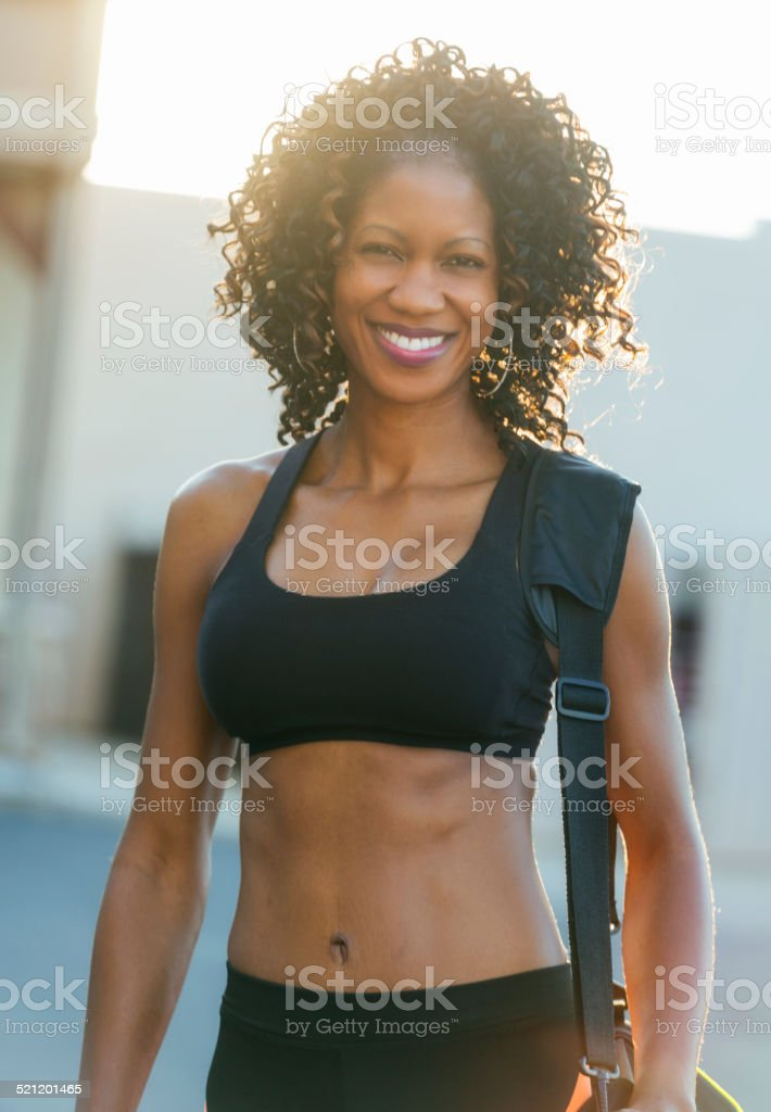 Woman Going to Gym stock photo