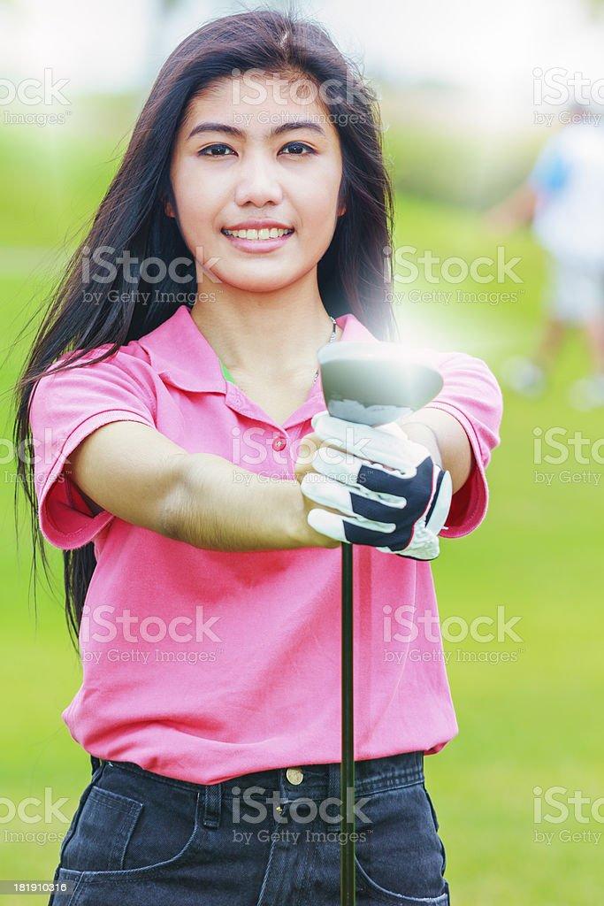 Woman golf player royalty-free stock photo