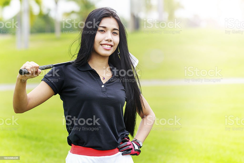 Woman golf player royalty-free stock photo
