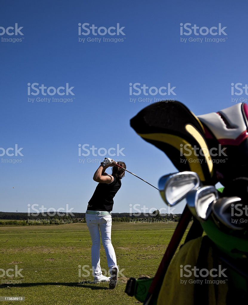 woman golf swing endposition royalty-free stock photo