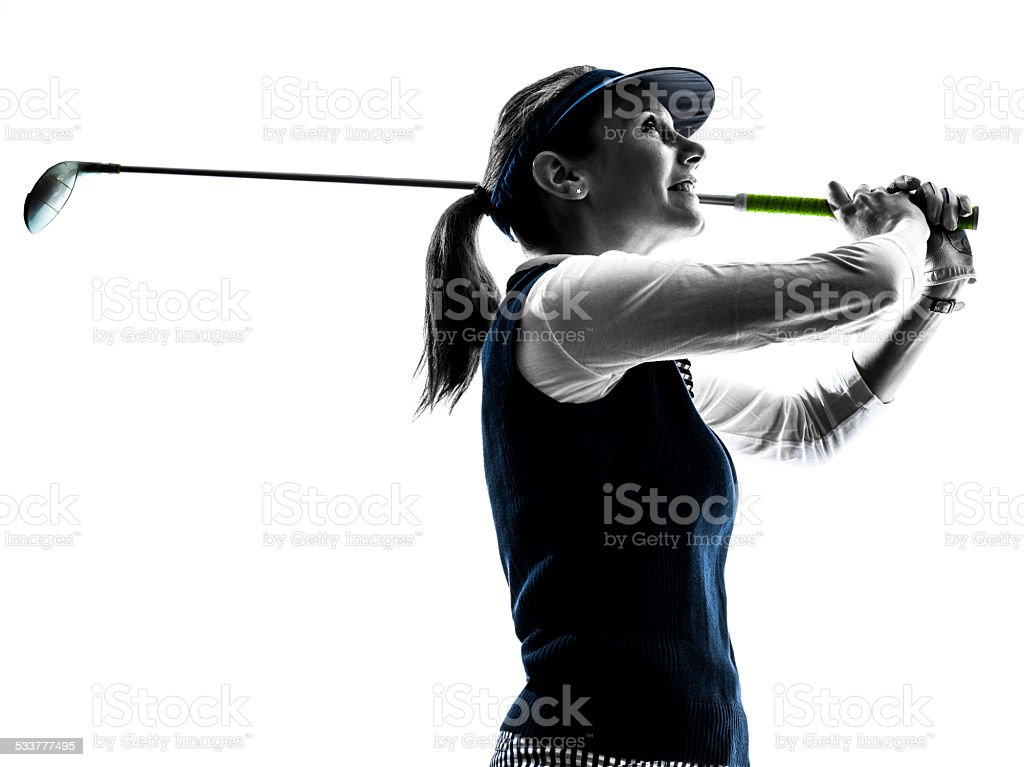 woman golfer golfing silhouette stock photo