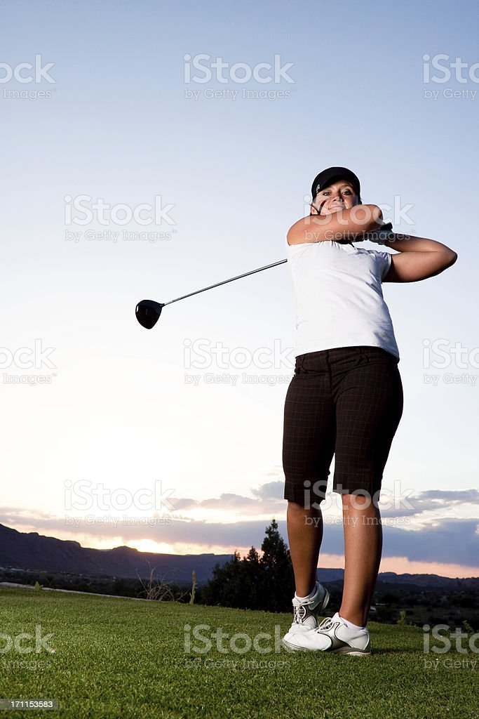 Woman golfer royalty-free stock photo