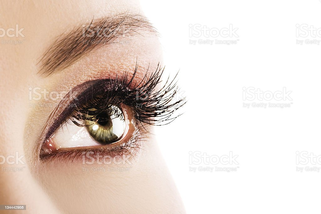 Woman green eye stock photo