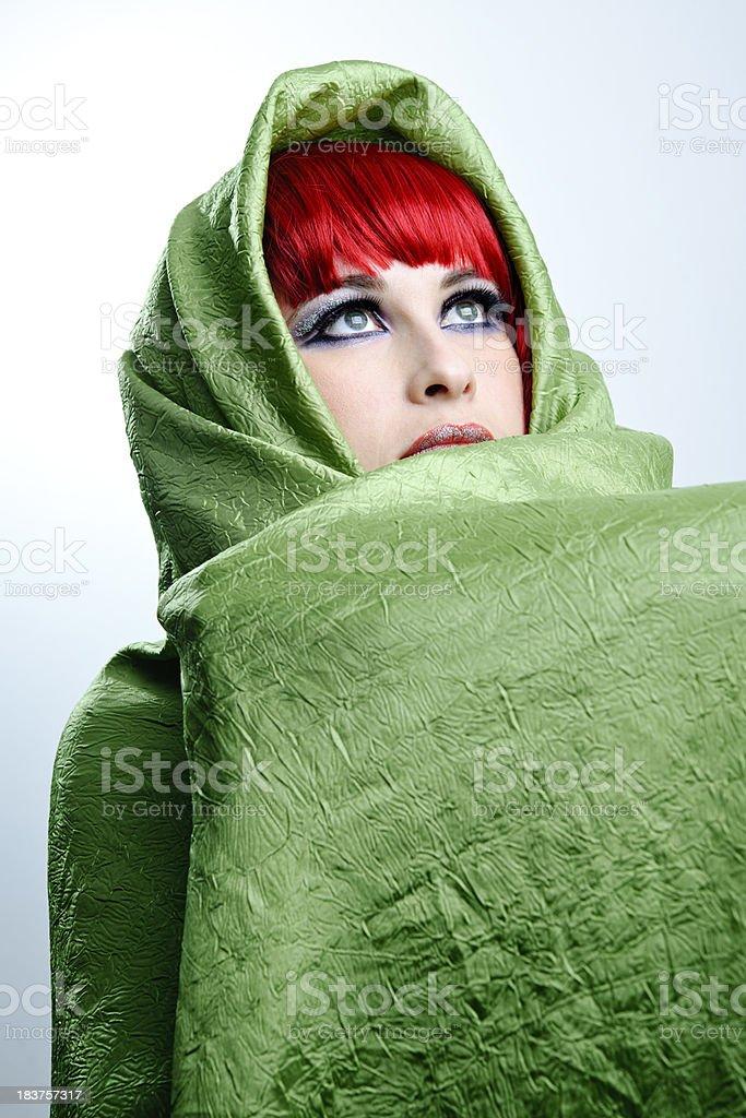 woman green textile royalty-free stock photo