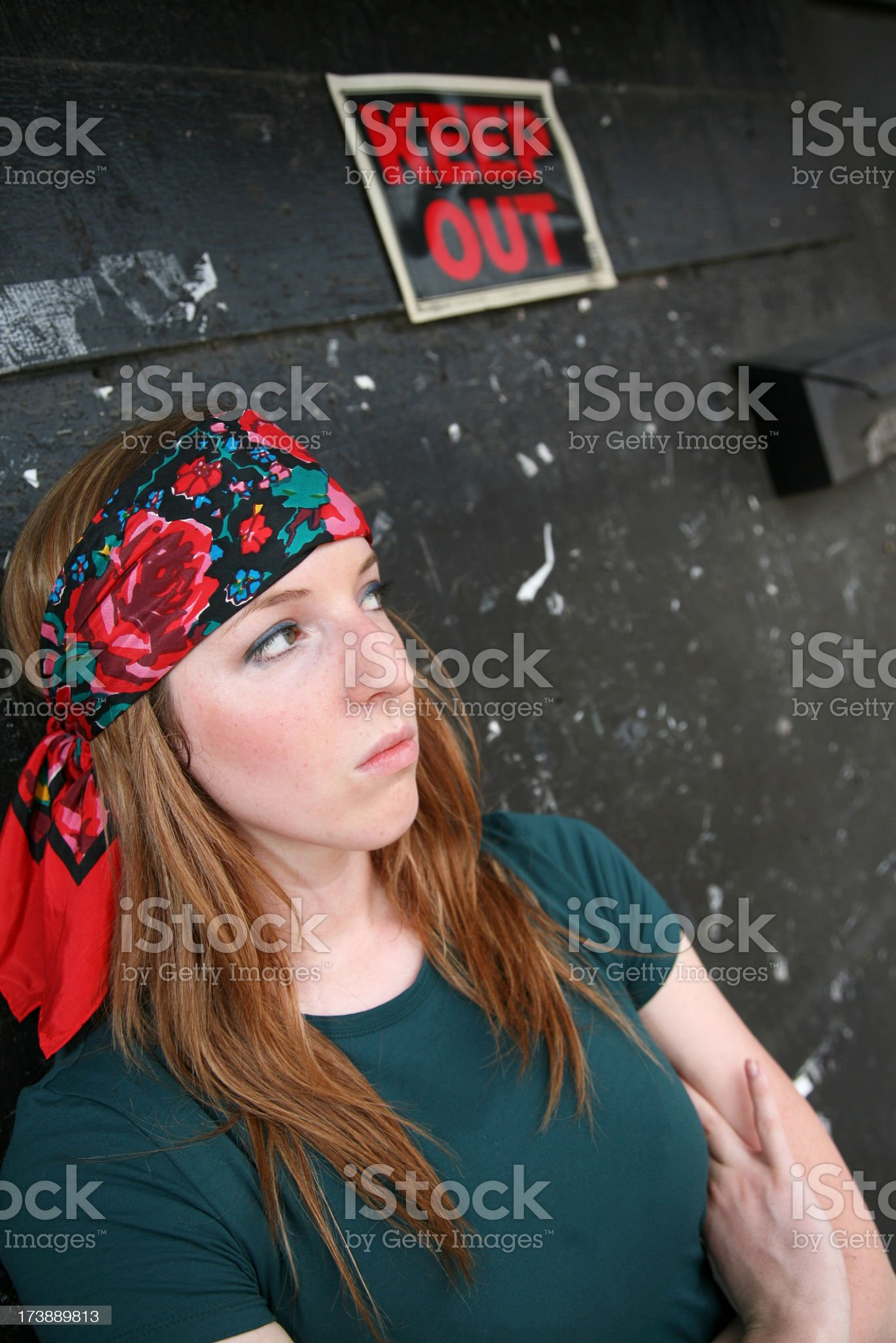 Woman Guarding Entrance to a Club royalty-free stock photo