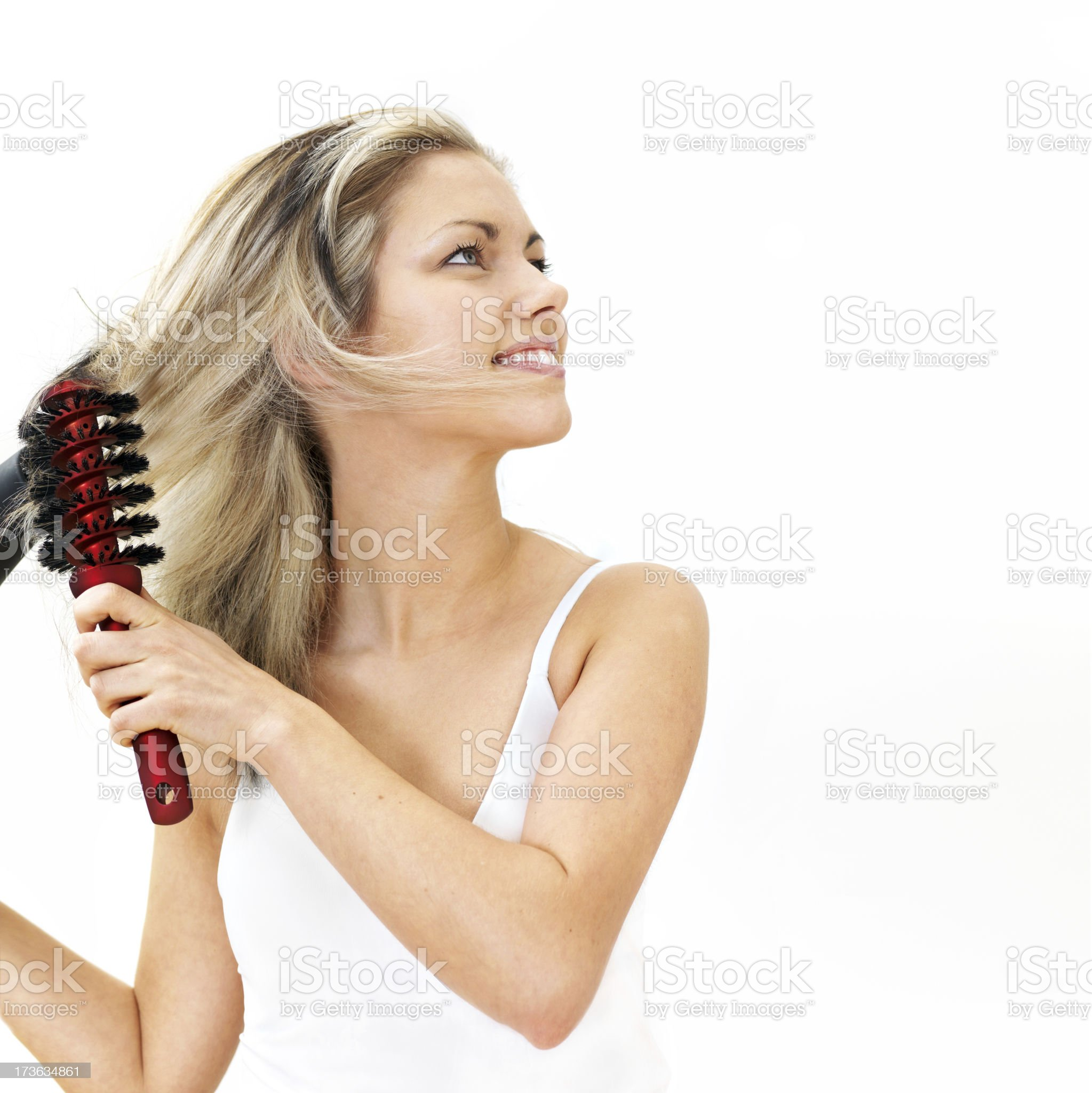 Woman hairdrying royalty-free stock photo